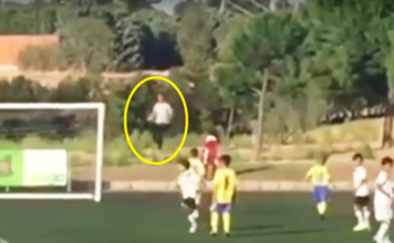 Cristiano Ronaldo taped as he turns into a ball boy during his son's U-8 debut.