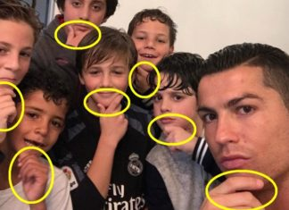 Cristiano Ronaldo and friends with his new celebration.j