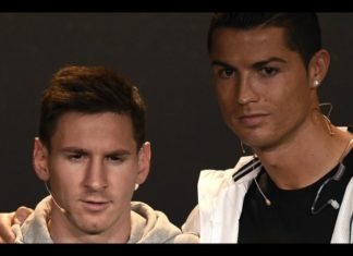 Cristiano Ronaldo and Lionel Messi at FIFA.