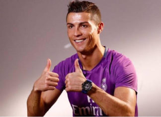 Thumbs up: Cristiano Ronaldo fired up for Club America vs Real Madrid.
