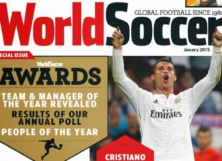 Cristiano Ronaldo on the cover of the 2014 World Soccer Magazine awards edition.