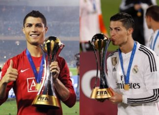 Cristiano Ronaldo's FIFA Club World Cup trophies at Manchester United in 2008 and at Real Madrid in 2014