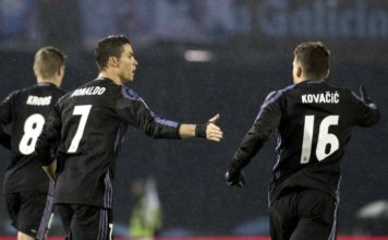 Cristiano Ronaldo scores 50th career free-kick; celebrates with Toni Kroos and Kovacic against Celta Vigo
