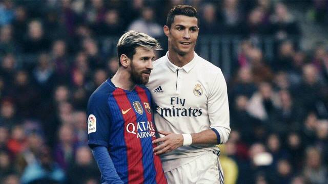 CR7 with Messi during El Clasico in December