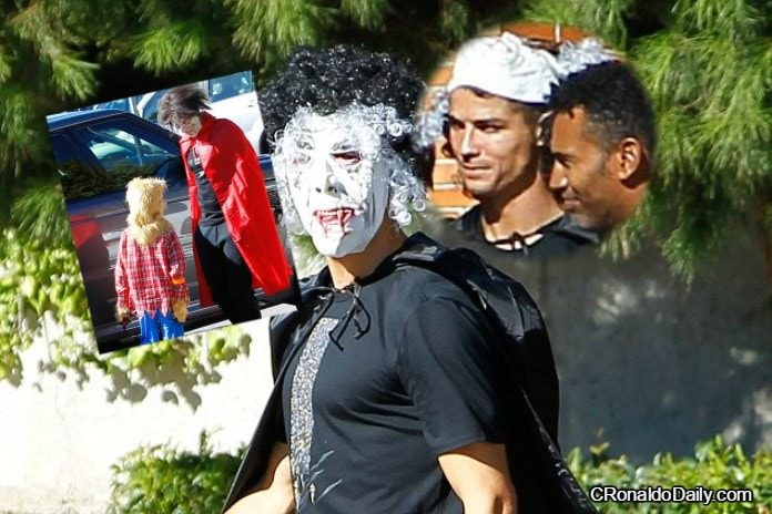 Ronaldo wears scary mask to his son's school