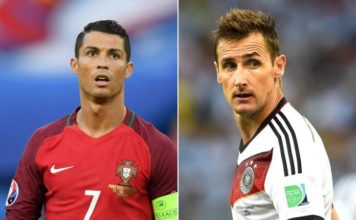 The face of retired international German player Miroslav Klose, when he finds out that Portugal's Ronaldo is about to leapfrog him...
