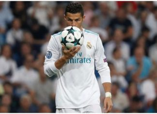 Ronaldo gets the match ball after a brace against Dortmund