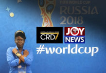 CRD7 World Cup premiere on Joy News TV. With Angela Akua Asante at the 2018 FIFA World Cup in Russia.