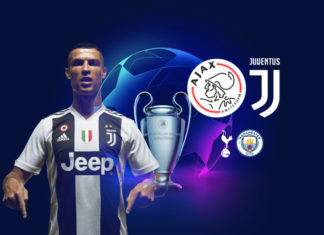 UEFA Champions League quarter-final draw - Ajax vs Juventus with potential Juventus vs Spurs or Juventus vs Manchester City semi-final fixture.