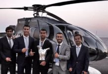 Cristiano Ronaldo posing in front of his private jet with his latest capture: the 2016 UEFA Best Player Award.