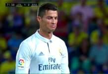 Cristiano Ronaldo reacted angrily to being subbed off against Las Palmas.