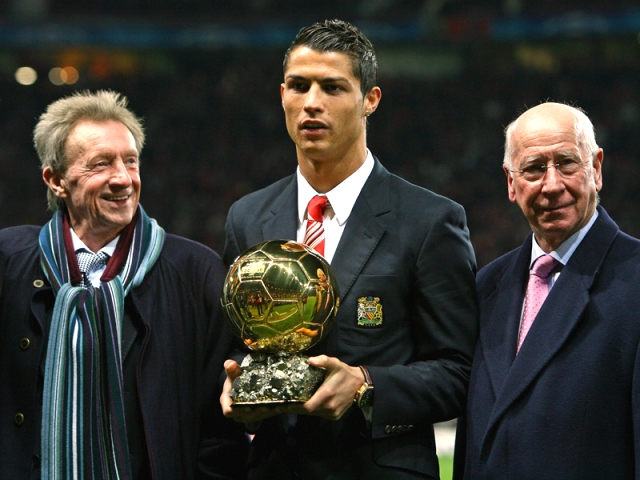 Cristiano Ronaldo presenting his 2008 Ballon d'Or award at Old Trafford.