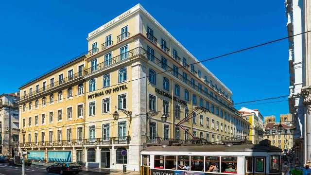 Ronaldo's Lisbon hotel during the day.