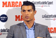 Cristiano Ronaldo expressing himself after scooping the award presented by Marca and La Gazzetta dello Sport.