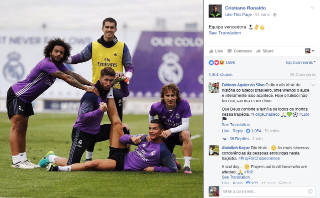 Cristiano Ronaldo's first social media post of the day after Chapecoense plane crash.