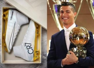 Cristiano Ronaldo's new Nike boots are in honor of his spectacular year 2016, crowned by the Ballon d'Or.