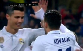 Cristiano Ronaldo and Kovacic celebrate against Real Sociedad.