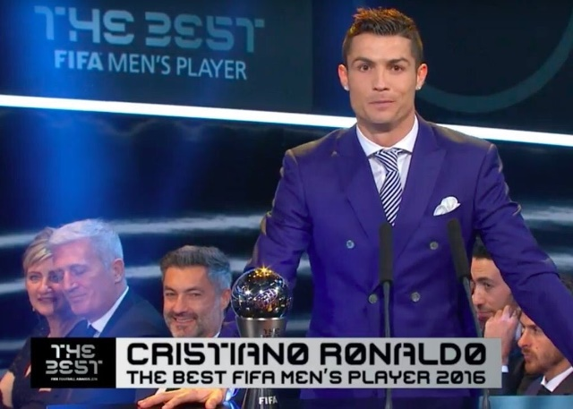 Cristiano Ronaldo during The Best victory speech