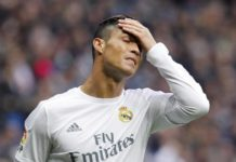 Cristiano Ronaldo under pressure. The Real Madrid forward slaps his hand on his forehead and grimaces.