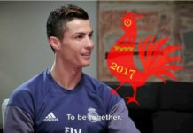 Cristiano Ronaldo's Chinese New Year message for the Year of the Rooster in Real Madrid's video.