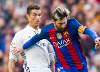 Cristiano Ronaldo and Lionel Messi during El Clasico in Dec 2016.