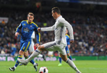 Cristiano Ronaldo of Real Madrid in action against Hugo Mallo during the Copa del Rey Quarter Final, First Leg match against Celta Vigo