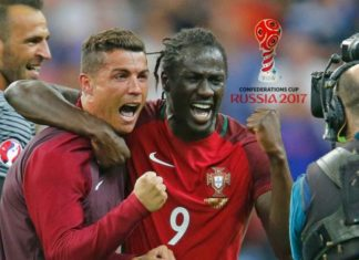 Cristiano Ronaldo and Eder celebrating together after Portugal beat France to win the Euro 2016 title.