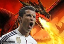 Cristiano Ronaldo screams like an angry dragon spewing fire.