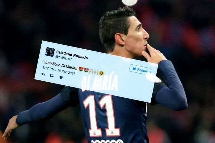 Angel Di Maria's brace in PSG 4-0 Barcelona delights Cristiano Ronaldo fans on Twitter.