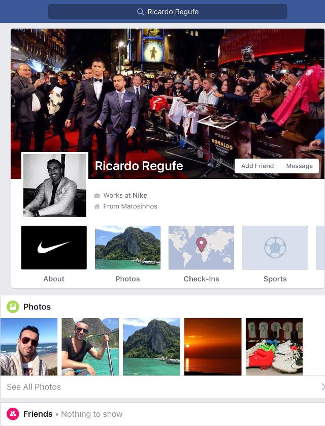 Ricardo Regufe's personal Facebook profile as of February 11, 2017.