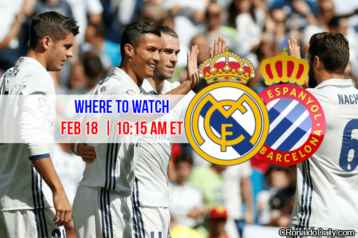 When to watch Real Madrid v Espanyol - Feb 18, 2017. Cristiano Ronaldo, Gareth Bale, Nacho, Alvaro Morata, Real Madrid logo, Espanyol logo