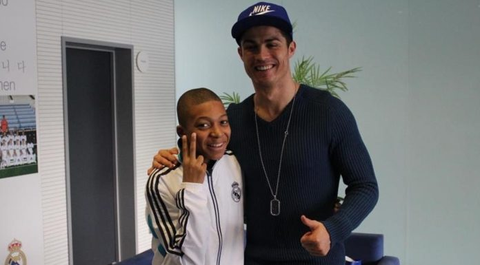 Ronaldo with 14 year old Kylian Mbappe