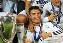 Cristiano Ronaldo and Real Madrid trophies