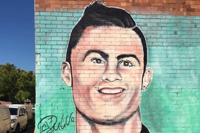 Ronaldo s trolled sculpture turned into mural for Cristiano ronaldo wall mural