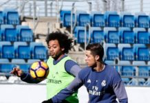 Cristiano Ronaldo and Marcelo in training