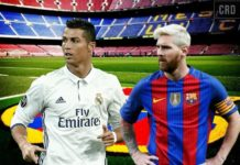 Camp Nou stadium background: Blond Lionel Messi PNG watches Cristiano Ronaldo PNG. Mes que un club. Real Madrid transfer rumors