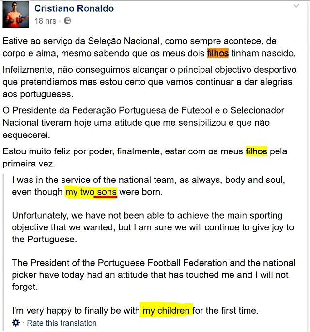 Ronaldo's statement on Facebook about his twins FILHOS