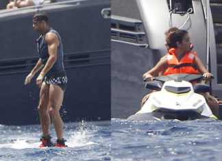 Ronaldo and pregnant Gio jet-skiing in Ibiza