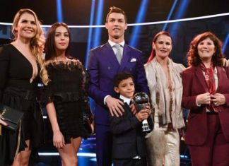 Cristiano Ronaldo and his family at 2016 FIFA Best Football Awards