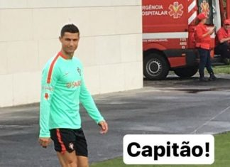 Cristiano Ronaldo joining his teammates for training ahead of their clash against Faroe Islands on August 31.