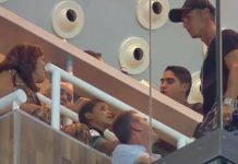 Cristiano Ronaldo was in the stands at the Santiago Bernabeu for the Supercopa de Espana clash against Barcelona