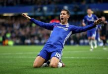 Eden Hazard celebrates scoring in Chelsea game.