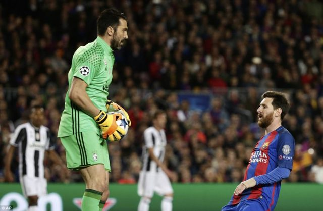 Lionel Messi against Buffon in Juventus' 3:0 victory in the UEFA Champions League