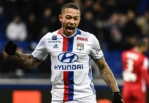 Memphis Depau screams in celebration mode after scoring a goal