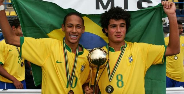 Neymar and Coutinho in their Brazil youth days