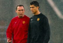 Cristiano Ronaldo with Rene Meulensteen for Manchester United