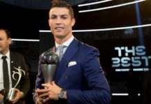 Cristiano Ronaldo poses with the FIFA Best Men's Player award