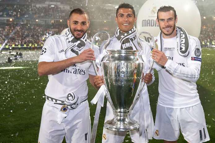 Cristiano Ronaldo, Karim Benzema and Gareth Bale held the UCL Title in smiles