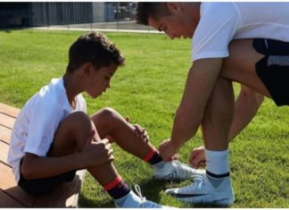 Ronaldo shares a moment with his son