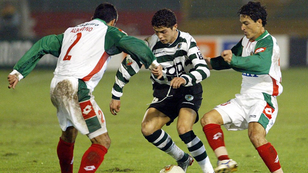 Cristiano Ronaldo in action at Sporting Club